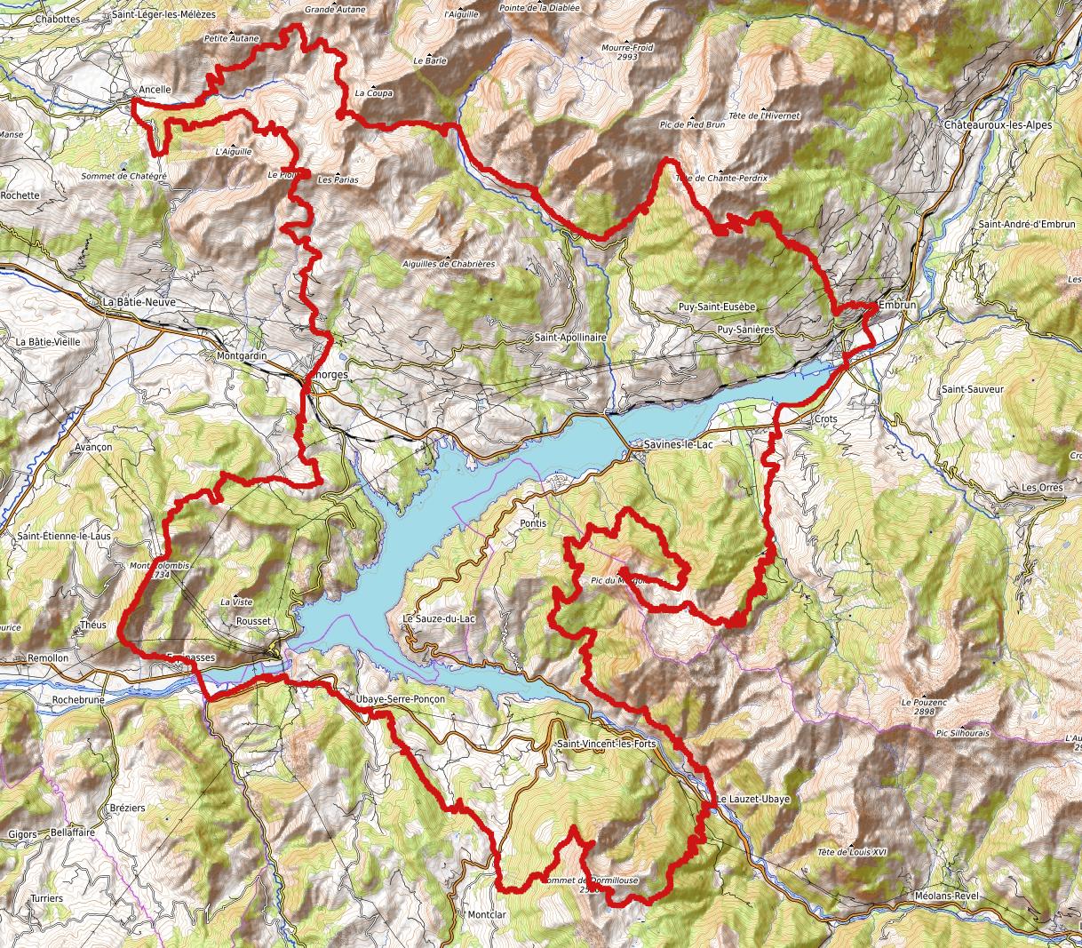 carte parcours defi François D'Haene 2018 Tour Serre Ponçon