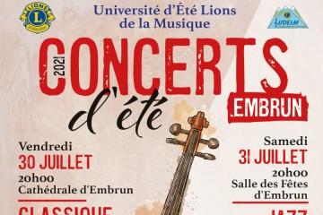 Concerts Eté Lions de la Musique 2021