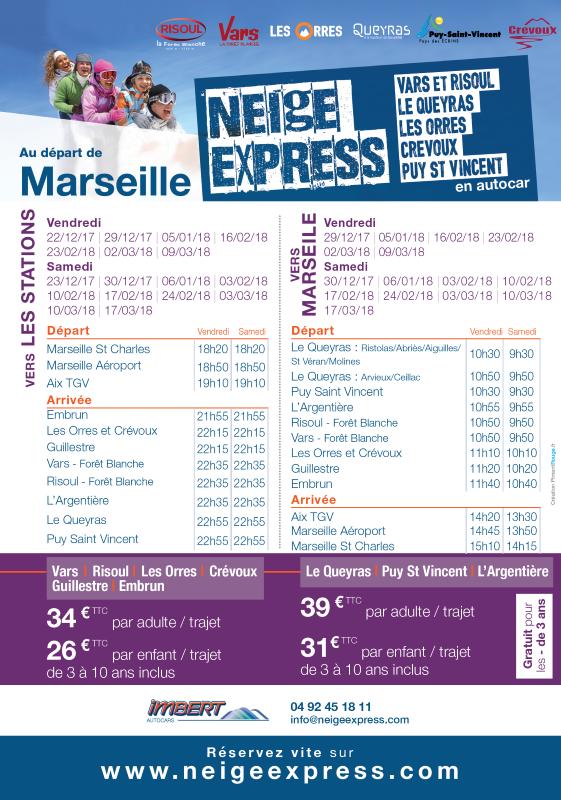 horaire depuis Marseille neige express hiver 2017/2018