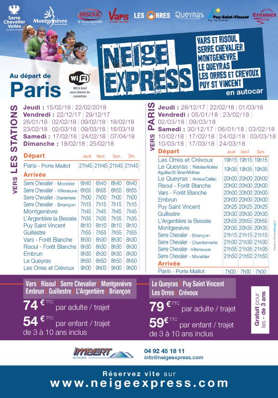 horaire depuis Paris neige express hiver 2017/2018