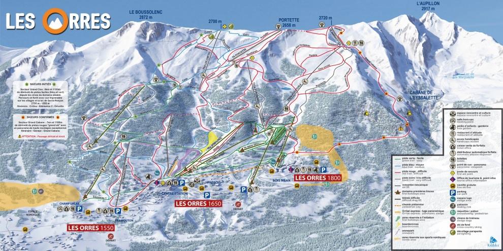 Plan des pistes du domaine skiable des Orres