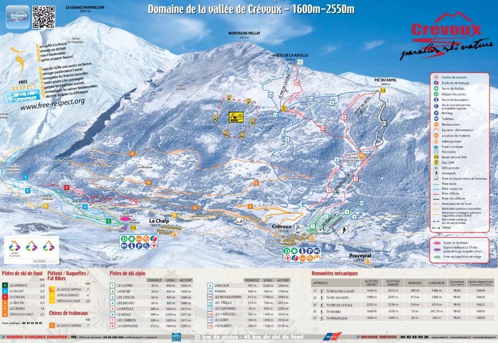Plan des pistes du domaine skiable nordique de Crévoux