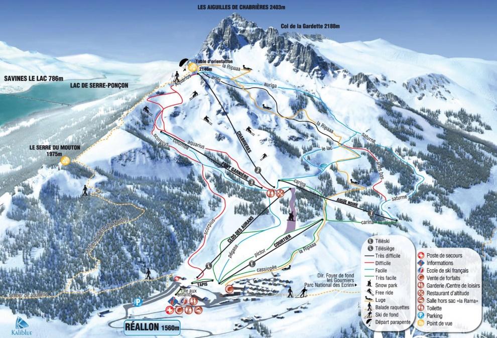 Plan des pistes du domaine skiable de Reallon