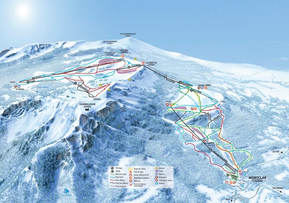 Plan des pistes du domaine skiable de Montclar