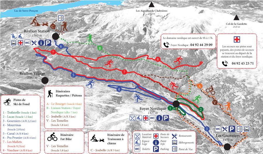 Plan des pistes du domaine skiable de Crévoux